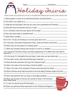 Holiday Trivia Game Christmas Trivia Game Christmas Games image 2 Planning a Christmas party? Looking for something to do on Christmas Eve? This fun and easy Christmas Trivia Games, Xmas Games, Holiday Games, Holiday Trivia, Holiday Fun, Christmas Holidays, Christmas Ideas, Christmas Games For Family, Christmas Parties