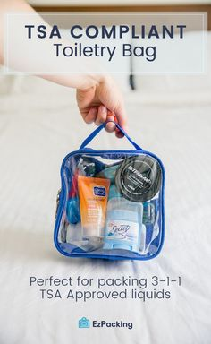 What Items are Allowed in My TSA Approved Clear Toiletry Bag? What Items are Allowed in My TSA Approved Clear Toiletry Bag? – EzPacking, Inc Packing Tips For Travel, Travel Essentials, Carry On Bag Essentials, Traveling Tips, Packing Tips For Vacation, Carry On Packing, Cruise Tips, Airplane Essentials, Travelling