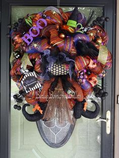 Crashed witch halloween wreath with crow by BurlapBowsAndBullets, $195.00