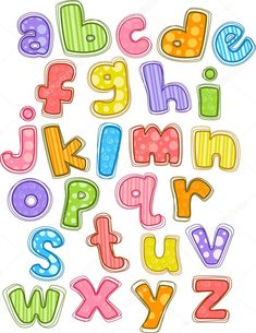 Illustration of Cute and Colorful Alphabet in Lower Case Cute Fonts Alphabet, Printable Alphabet Letters, Hand Lettering Alphabet, Graffiti Lettering Fonts, Doodle Lettering, Fonte Alphabet, Abc For Kids, Handwriting Fonts, Alphabet Activities
