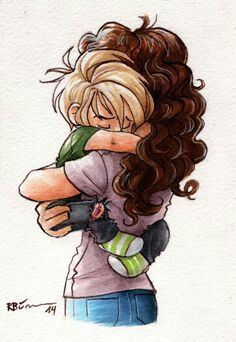 I see this as hermione holding teddy or as hermione holding scorpius (: