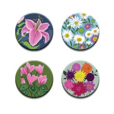A pack of 4 Alison Bick Artist coastal garden flowers design Pattern weights fabric weights No need for pins by RICEMETALS on Etsy