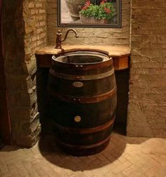 Wine Barrel Sink Design Ideas- would be a great wine room sink Whiskey Barrel Sink, Barrel Bar, Bourbon Barrel, Water Barrel, Barrel Table, Rain Barrel, Barris, Wine Cellar Design, Stone Bathroom