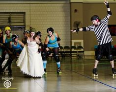 Roller Derby bridal shoot.  It's pinky!  And my beloved Greensboro roller derby!