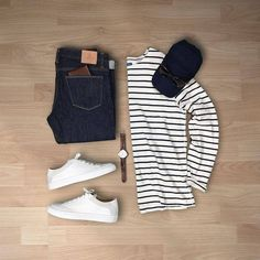 Here's a cool outfit you can wear on weekend or on a workday if that's what you can wear to work! A Simple denim, full sleeves stripe tee and cool white sneakers. All you need to look s…