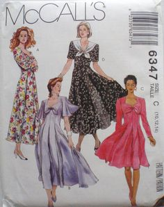 McCall's 6347 - Semi-Fitted Princess Seam Dress - Sizes 10-12-14, Bust 32 1/2 - 36, UNCUT by Shelleyville on Etsy
