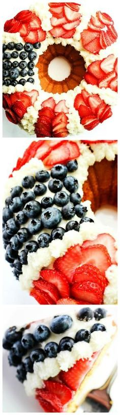 Red, White, & Blue Bundt Cake with Fresh Berries : adashofsanity