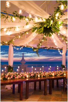 beach wedding venues Tropical Florida Wedding with a jaw-dropping floral installation. This beach wedding is full of tropical wedding details with monstera leaves. We cant get over the colorful florals and greenery! Wedding Venues Beach, Beach Wedding Decorations, Wedding Locations, Wedding Themes, Wedding Centerpieces, Wedding Events, Wedding Ceremony, Wedding Ideas, Wedding Hacks
