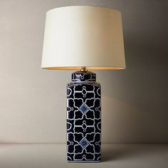 Buy John Lewis Emma Tile Ceramic Base Table Lamp, Navy Blue Online at johnlewis.com