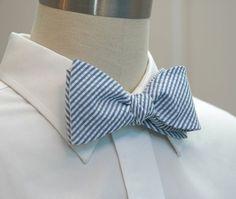 Men's Bow Tie in classic blue seersucker by CCADesign on Etsy