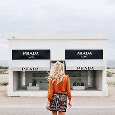 prada marfa texas / zara southwest embroidered skirt shopbop tie neck blouse in burnt orange /  lauren stephanie wells @laurenswells