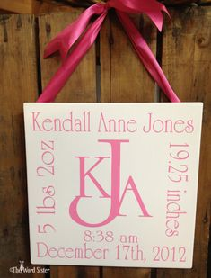 """PERSONALIZED...Baby Girl or Boy Monogramed Initials with Name and Birth Information 12""""X12"""" Word Art   By The Word Sister."""