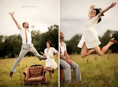 Fun engagement shots! So cute how they look at each other as the other jumps
