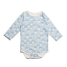 Organic Long-Sleeve Snapsuit - Mushrooms Pale Blue