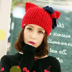 Cartoon cat beanie hat with ears for women winter bow knit hats acca887596ad