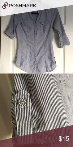 Navy and white striped button down Optional button up sleeve. Button detail on sides. Sooooo cute!!! Offers welcomed. Tops Button Down Shirts
