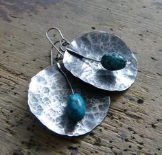 turquoise earrings and sterling silver  boho jewelry  by COTELLE