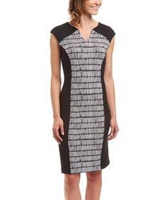 Look at this #zulilyfind! Black & White Stripe Notch Neck Sheath Dress #zulilyfinds