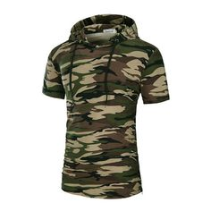 s Casual Hooded T-shirt Drawstring Mid Long Regular Fit Fashion Top... ($21) ❤ liked on Polyvore featuring men's fashion, men's clothing, men's shirts, men's t-shirts, mens camouflage shirts, mens hooded long sleeve shirt, mens long length t shirts, mens hooded t shirt and mens summer shirts