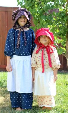 Sewing: Homemade Pioneer Costumes by Brandy-A simple elastic pioneer dress, apron, and bonnet. Perfect for any Pioneer Day or Little House on the Prairie activity!