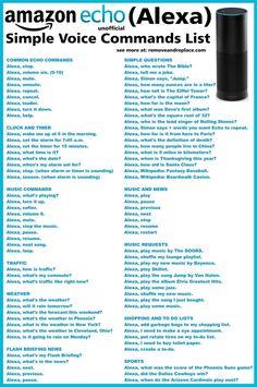 Amazon Echo ALEXA Voice Commands List Alexa Dot, Alexa Echo, Echo Echo, Alexa Tricks, Amazon Echo Tips, Amazon Hacks, Amazon Gadgets, Who Wrote The Bible, Amazon Alexa Skills