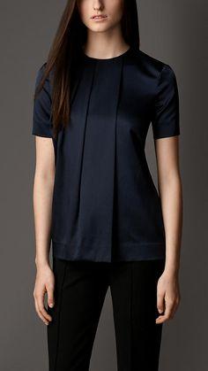 Blusa em seda com stretch com a frente plissada | Burberry