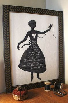 "My Shadow - Cross Stitch by Heartstring Samplery.  ""With only a silver needle and a string from the depths of my heart I will stitch love and beauty into the warp and weft of the world""."