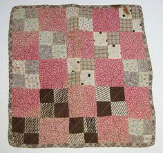 "Vintage dolls quilt 15 x 14 1/2"" pink, tan, brown block quilt, eBay, kawwin5"