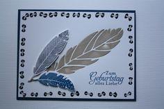 """Four Feathers, Stampin' Up!, Feder mit gefärbter Strukturpaste, Rand mit Zentangle-Muster """"Laced"""""""