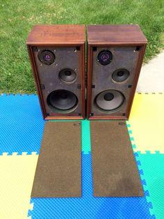 AS-IS/SHABBY VINTAGE WHARFEDALE W40D 3-WAY STEREO FLOOR BOX SPEAKER SET #WHARFEDALE
