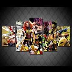 Style Your Home Today With This Amazing 5 Panel Late Uncanny X-Men Framed Wall Canvas Art For $99.00  Discover more canvas selection here http://www.octotreasures.com  If you want to create a customized canvas by printing your own pictures or photos, please contact us.