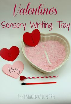 Make a playful literacy resource for kids to practise their letter sounds and sight words in this Valentine& sensory writing tray! Valentine Sensory, Valentine Theme, Valentines Day Activities, Valentine Day Crafts, Valentine Ideas, Valentine Stuff, Valentine Nails, Valentine Wreath, Literacy Activities