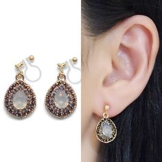Comfortable Pierced Look Dangle Teardrop White Opal and Black Rhinestone Crystal Invisible Clip on Earrings by MiyabiGrace 夾耳環 耳夾 無耳洞 無耳洞耳環 耳環控 イヤリング  Details ◆Length: 6/7 inches (2.2 cm) ◆Weight:4 g (0.14 oz)