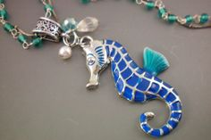 Down by the sea blue enameled seahorse by OutsiderArtJewelry