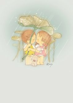 Under leaf umbrella (illustrator unknown)