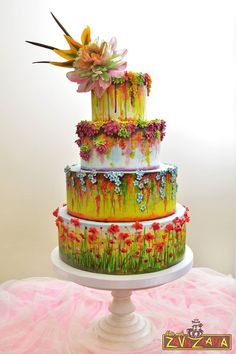 Colorful flower floral Wedding cake buttercream