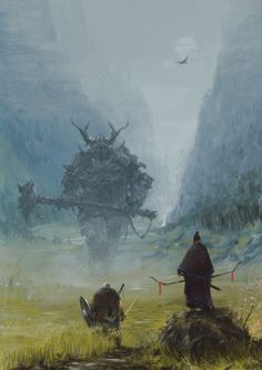 A human fighter and orc hunter stand their ground against Crunug the Horned Ogre