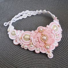 Items similar to SALE Statement soutache necklace; White and rose necklace; Soutache Necklace, Rose Necklace, Bridal Necklace, Ribbon Jewelry, Turquoise And Purple, Gifts For Wife, Beaded Embroidery, Wedding Jewelry, Handmade Jewelry