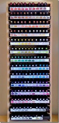 Marker storage using DVD storage unit & empty cases as the shelves! Awesome!