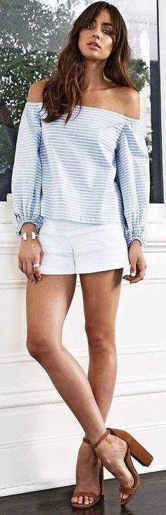 #fall #kookai #australia #outfits | Striped Top + White Shorts