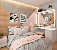 50 pink bedroom decor that you can try for yourself .- 50 rosa Schlafzimmer Dekor, das Sie selbst ausprobieren können 50 pink bedroom decor that you can try for yourself out - Pink Bedroom Decor, Room Ideas Bedroom, Bedroom Themes, Dream Bedroom, Pastel Bedroom, Teen Bedroom Colors, Light Pink Bedrooms, Bedroom Decor For Teen Girls Dream Rooms, Teen Bedroom Layout