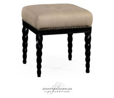 Black finish upholstered stool with barleytwist legs #hpmkt #jcfurniture #jonathancharles #Furniture #InteriorDesign #decorex #Twistcollection