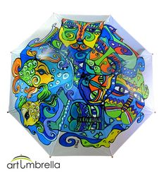 • Cats • Animal Illustrations • Rain Umbrella/ Waterproof painting • Wooden Handle • White Base • Bright Colors • Personalized The umbrella is painted with special fabric paints, which are resistant to rain or sun. The umbrella itself is automatic, sturdy, with a banded wooden handle and metal tops. The diameter of an open umbrella is 100 cm/40. inch. When it`s closed, it is 90 cm/36 inch long.
