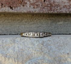 Antique Art Deco Diamond 7 Stone Wedding Anniversary Band Ring in Yellow and White Gold Gold Diamond Band, Art Deco Diamond, Antique Art, Antique Jewelry, Vintage Jewelry, Antique Wedding Bands, Wedding Rings, Anniversary Bands, Wedding Anniversary