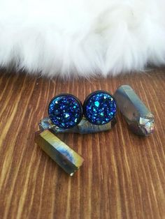 Druzy Blue Stud Earrings Black Studs Fashion Jewelry ~ Sale Expires Today