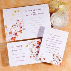 Fall Wedding Invitations - White - Maple Leaves