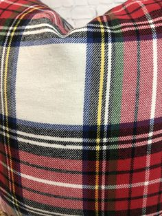 Red Green White Blue Green Winter Fall Christmas Plaid Pillow Cover: Flannel Cover w/Piping and Invisible Zipper, Winter Christmas Holiday Plaid Christmas, Christmas Holiday, Christmas Decor, Plaid Bedding, Green Flannel, Red Blue Green, Fabric Patterns, Pillow Covers, Holidays