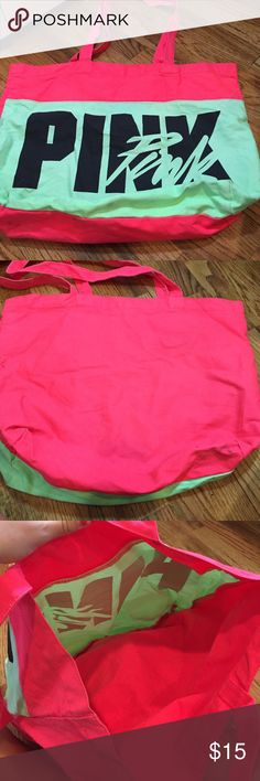 PINK tote bag A nice size bag for a beach day or a pool day! Has been used but still in great condition PINK Victoria's Secret Bags Totes