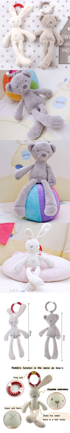 Baby Rattles Plush Rabbit Stroller Wind Chimes Plush Bear Hanging Bell Baby Toy Doll Soft Bed Gift Appease Toys -- BYC079 PT49 $6.95