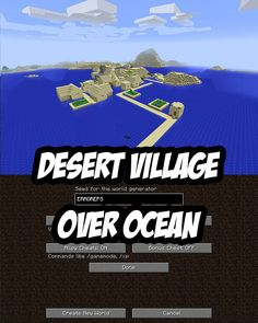 Desert Village Out Over Ocean. Minecraft PC Seed: ERROREPS